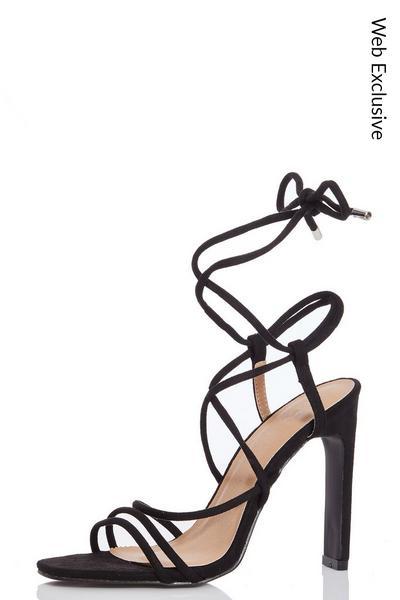 Black Faux Suede Strappy Heel Sandals